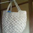 リネンの模様編みバッグ